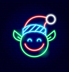 christmas elf neon sign vector image