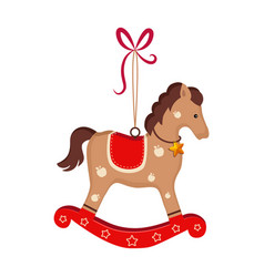 christmas toy rocking horse greeting card vector image