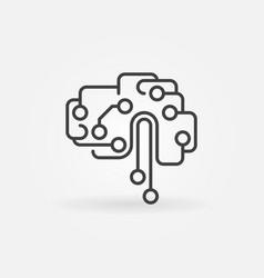 Circuit tech brain outline icon ai symbol vector