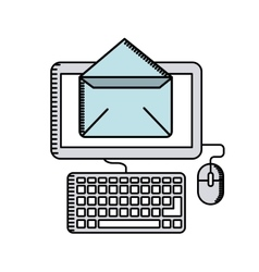 Computer with envelope icon vector