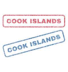 cook islands textile stamps vector image