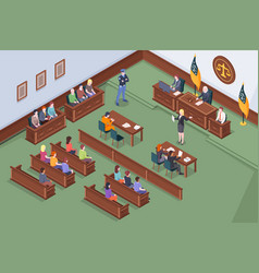 Court process courtroom hearing judge isometric vector