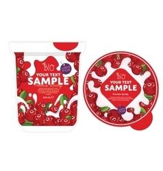 Cranberry Yogurt Packaging Design Template vector