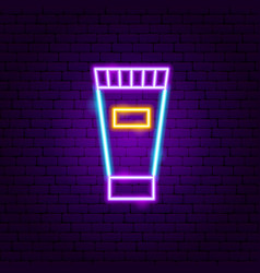 cream tube neon sign vector image