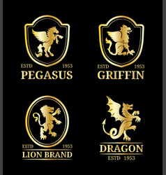 crest monograms templates luxury pegasus vector image
