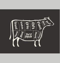 cut beef meat drawn on blackboard menu vector image