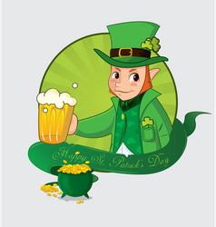 cute cartoon leprechaun for saint patrick day vector image