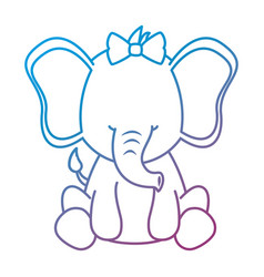 Cute female elephant character icon vector