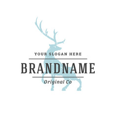 Deer hand drawn logo isolated on white background vector