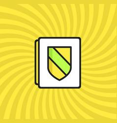 Document security icon simple line cartoon vector