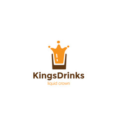 drink glass splash as crown logo design template vector image