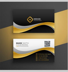 elegant golden wavy premium business card design vector image