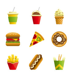 Fast food cartoon icon set vector image