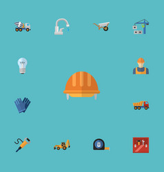 flat icons toolkit excavator worker and other vector image