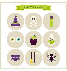 Flat Magic Witch Icons Set vector