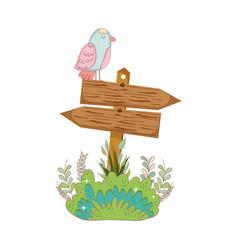 garden with wooden arrow signal and bird vector image
