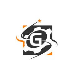 gear solution logo letter g vector image