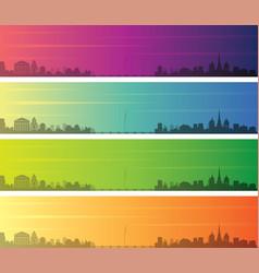 Geneva multiple color gradient skyline banner vector