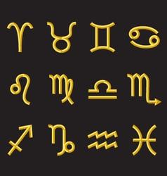 golden zodiac symbols vector image