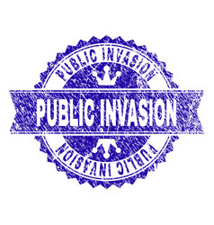 Grunge textured public invasion stamp seal with vector