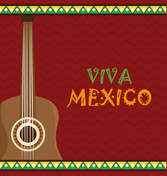 guitar instrument viva mexico vector image
