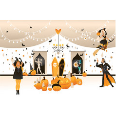 halloween holiday flat party characters set vector image