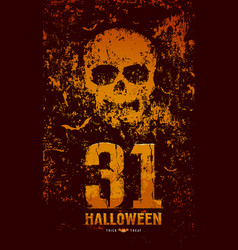 halloween skull and bat on rough surface vector image
