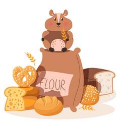 Hamster eat flour small pest rodent flour vector