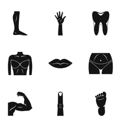 Human body icons set simple style vector