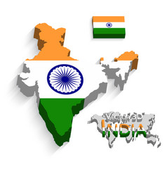 India 3d flag and map vector