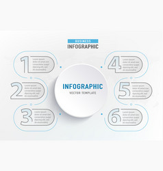 infograph 6 step element circle graphic chart vector image
