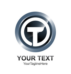 initial letter t logo template colored silver vector image