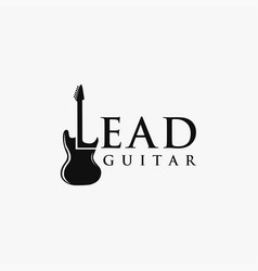 Lead guitar wordmark logo template vector