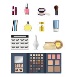 lipstick gloss shadows mascara perfume cream vector image