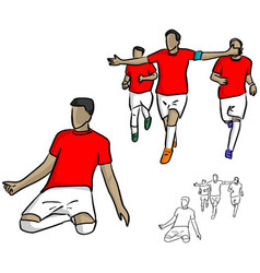 Male soccer player in red jersey shirt vector