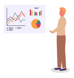 man makes presentation using large stand vector image