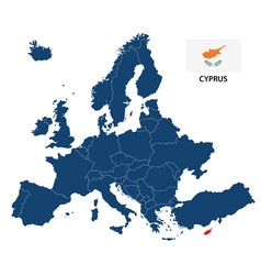 map of europe with highlighted cyprus vector image