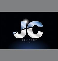 Metal blue alphabet letter jc j c logo company vector