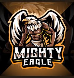 Mighty eagle esport mascot logo design vector