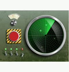 Military dashboard with radar red button vector