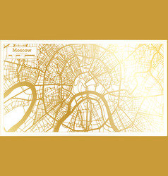 moscow russia city map in retro style in golden vector image
