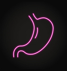 Neon human stomach icon in line style vector