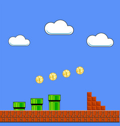 Old game background classic retro arcade design vector