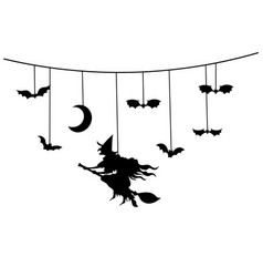 paper garland for halloween with mystical vector image