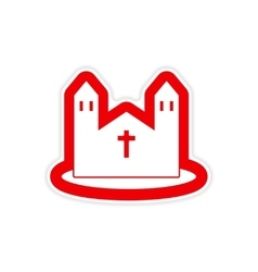 Paper sticker on white background Catholic church vector