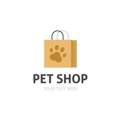 Petshop logo isolated bag with pet shop vector