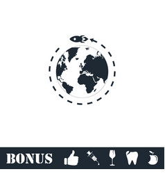 Planet with rocket icon flat vector