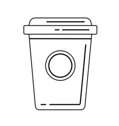 plastic cup of chocolate coffee line icon vector image