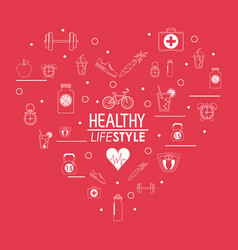 Poster healthy lifestyle design in heart shape vector