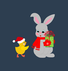 rabbit and chicken vector image